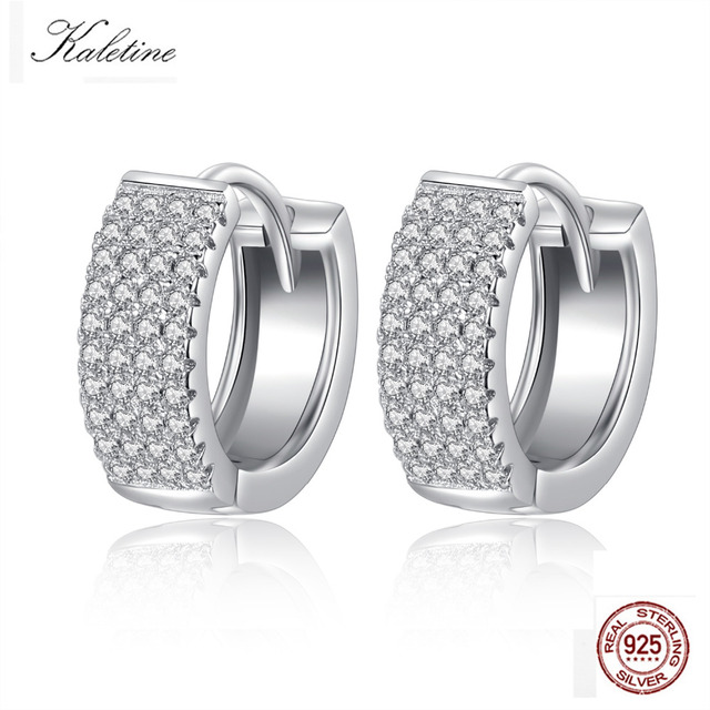 Kaletine Fashion Wedding 925 Sterling Silver Earirngs For Women Round Cz White Gold Hoop Earrings Luxury