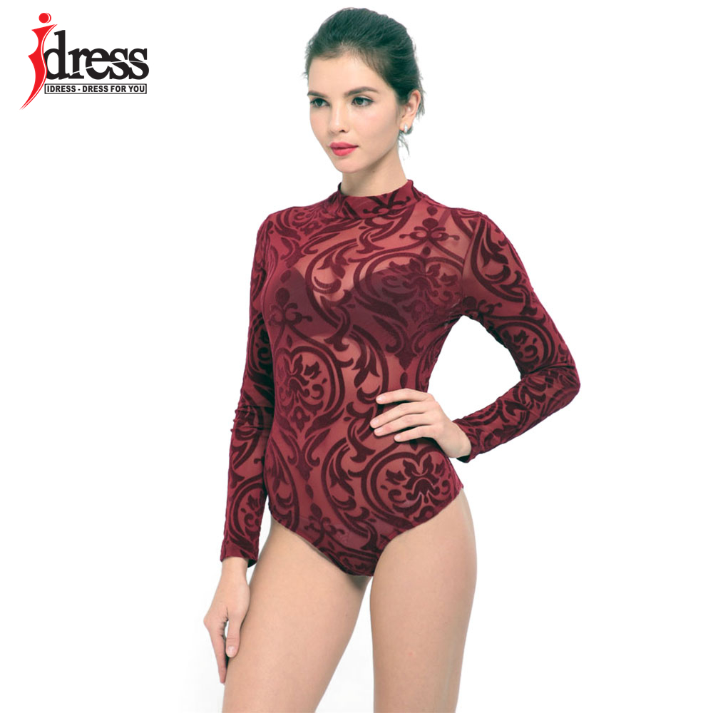 IDress 2017 New Arrival BlackBlue Red Macacao Feminino Mesh Shorts Femme Playsuit Overalls for Woman Long Sleeve Sexy Bodysuit (4)