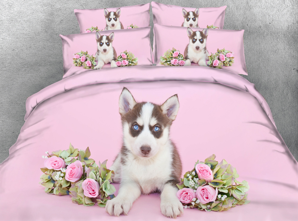 Jf 102 Cute Girls Bedsheets Pink Roses And Dog 3d Hd
