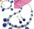 "Tibet Prata Lapis Lazuli Colar Pulseira Brinco Set 18 ""7.5"""