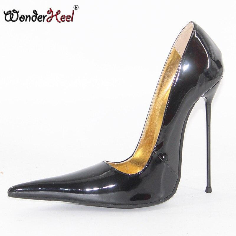 Wonderheel new high heel 16cm thin metal heel black shiny Sexy ultra extreme pointed toe slip