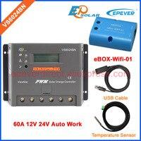Vs6024bn 60a 60 ампер 12 В 24 В кабель USB и датчик температуры Wi Fi коробка солнечной Мощность банк ШИМ контроллер EPSolar epever