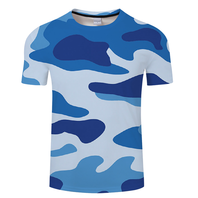 The new style leisure 3d printing men's T-shirt in summer, white and blue camouflage pattern printing men and women Asian size