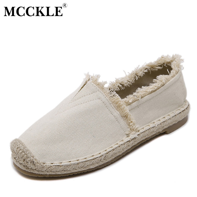 MCCKLE women fashion loafers flats soft canvas shoes slip-on square toe new casual spring foot wear solid sewing zapatos mujer new shallow slip on women loafers flats round toe fishermen shoes female good leather lazy flat women casual shoes zapatos mujer