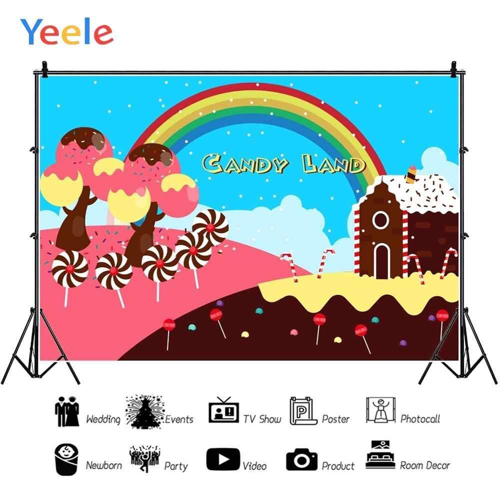 Fondos fotográficos personalizados para estudio fotográfico Yeele Cake House Donut Tree Rainbow Dreamy Candyland