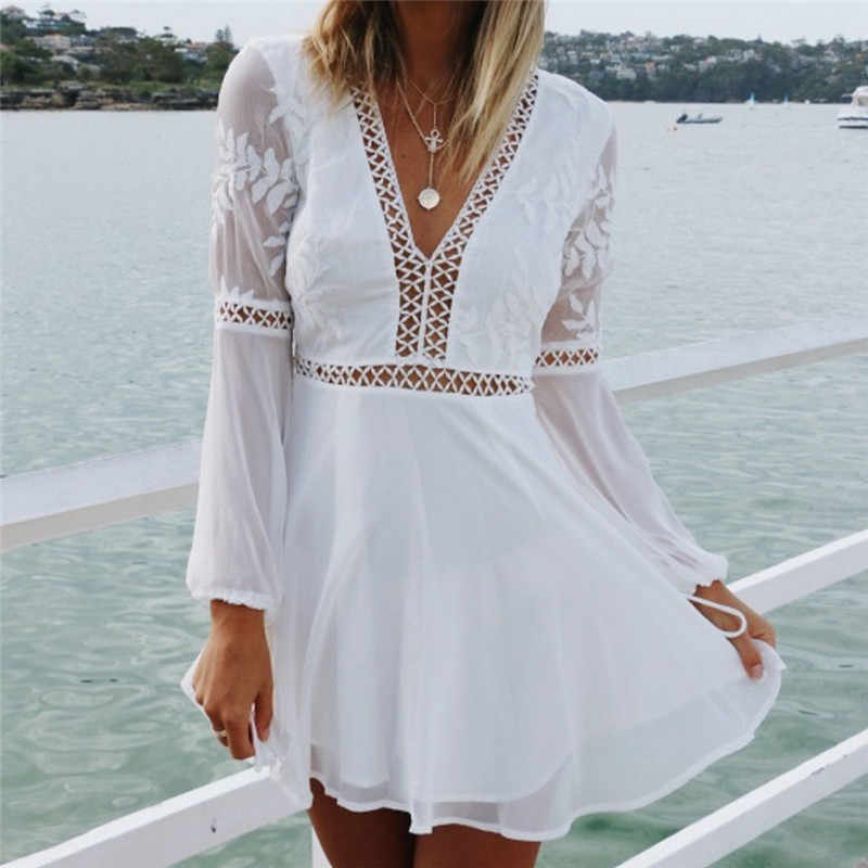 62d7322b306c6e ... New Fashion Women Casual Sexy V-Neck Long Sleeve Lace Trim Short Mini  Dress white ...