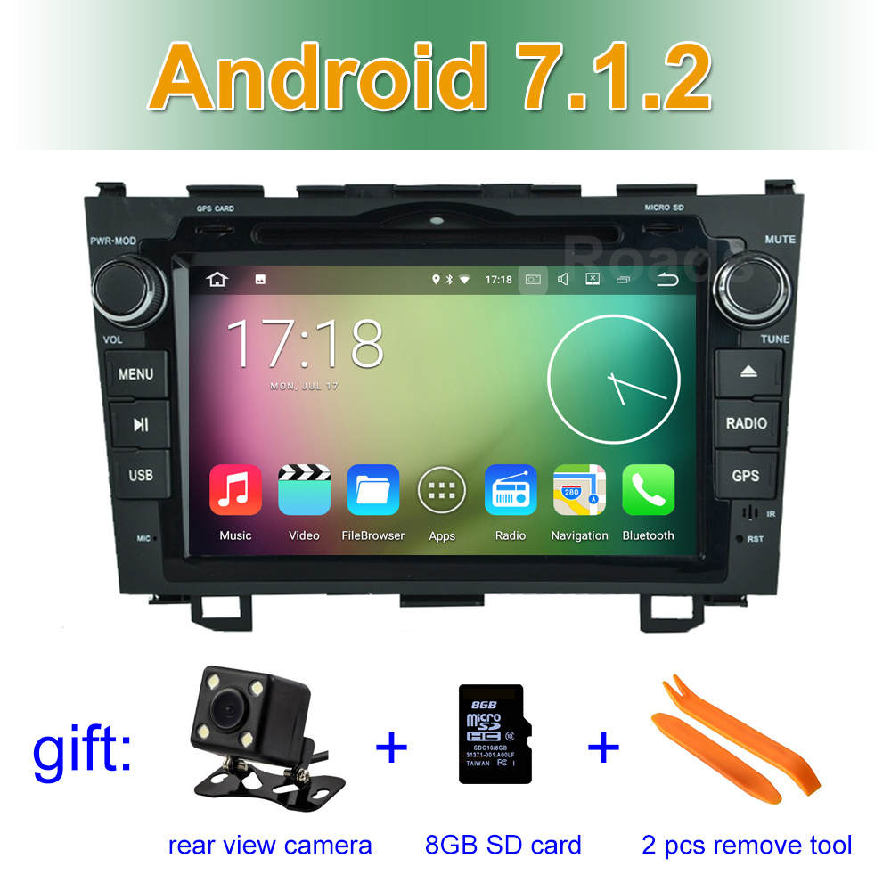 8 1024 600 Quad Core Android 7 1 Car DVD Player GPS for Honda CRV CR