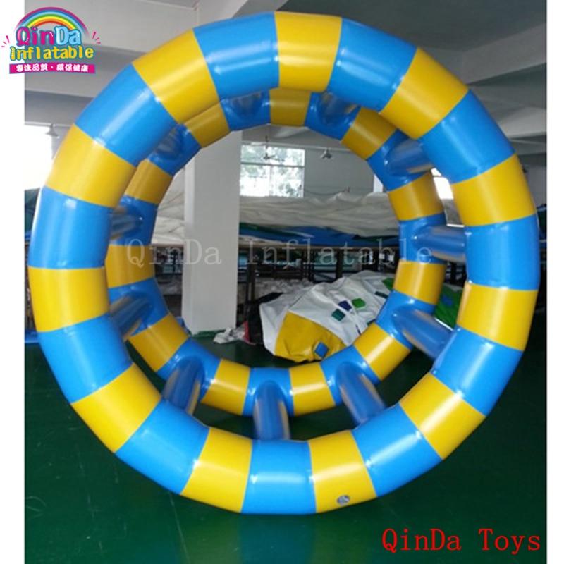 Rueda de rodillos inflable portátil para juegos de agua con bomba de aire libre, pvc azul de 0.9 mm y azul inflable.