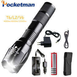 Фонарик Pocketman T6/L2/V6, светодиодный, 5 режимов, с зарядным устройством, масштабируемый, перезаряжаемый, с фокусом, на 1*18650