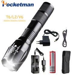12000 lumens 5-mode pocketman t6/l2/v6 lanterna led com carregador zoomable foco recarregável luz tocha lanterna por 1*18650