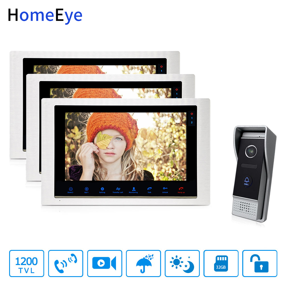 HomeEye 10inch Video Doorbell Video Intercom Motion Detection OSD Menu Touch Button 1-3 Security Access System 1200TVL RainproofHomeEye 10inch Video Doorbell Video Intercom Motion Detection OSD Menu Touch Button 1-3 Security Access System 1200TVL Rainproof