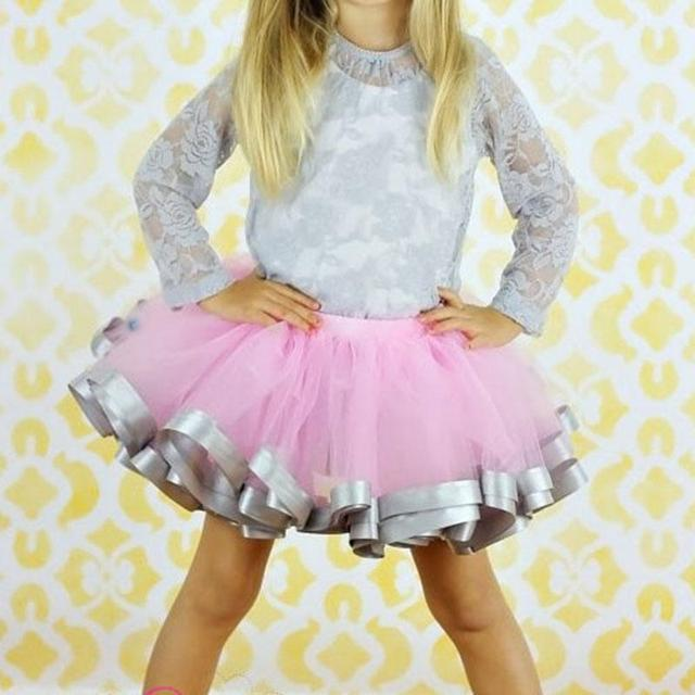 Fashion girl Casual Chiffon Tutu Pink And Grey Ribbon Skirt Baby Girl Birthday Party Ball Gown