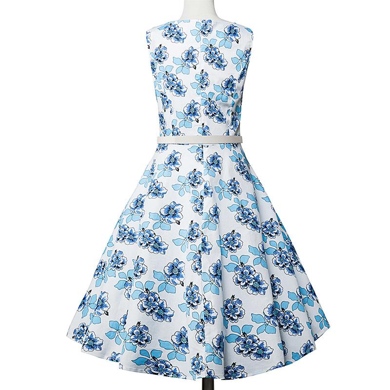 Kostlish Elegant Print Women Summer Dress Sleeveless Cotton Hepburn 50s 60s Vintage Dress With Belt Casual A-Line Ladies Dresses (54)