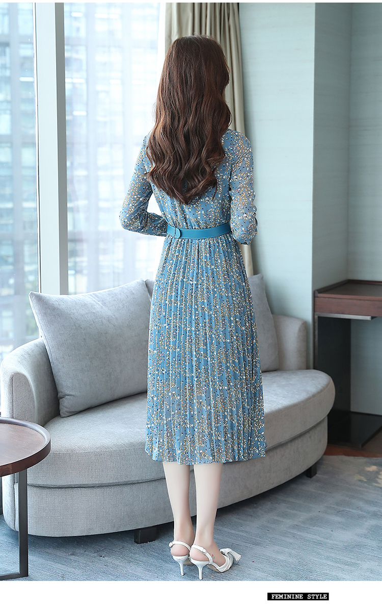 2019 Autumn Winter Vintage Chiffon Floral Midi Dress Plus Size Maxi Boho Dresses Elegant Women Party Long Sleeve Dress Vestidos 79