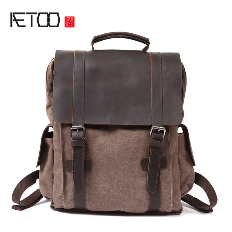 AETOO Retro backpack canvas bag Europe and the United States wave backpack men aetoo new front cowhide retro leather shoulder bag men travel backpack europe and the united states crazy horse leather