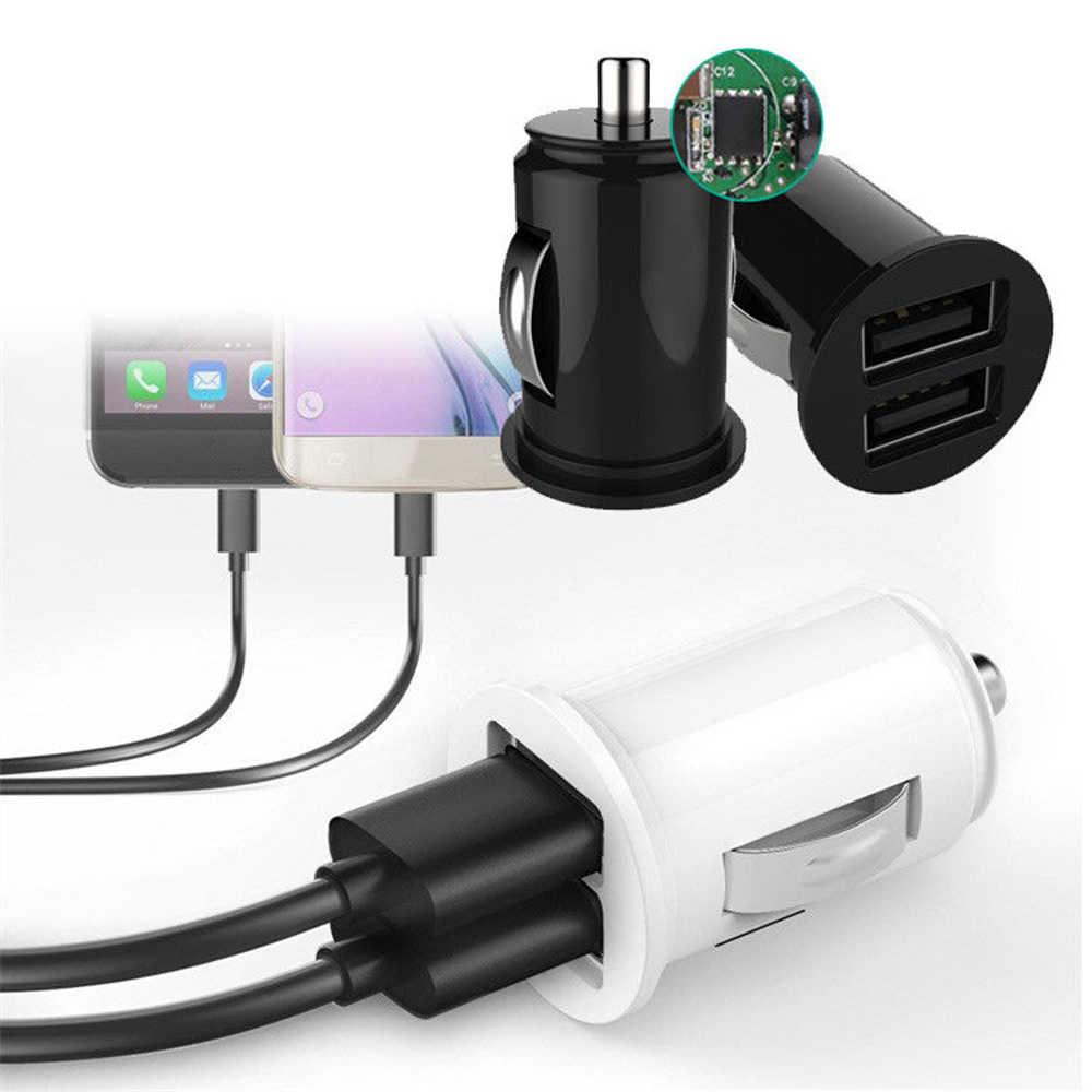 Mini Dual USB Port Mobil Charger Plug Socket 5 V 2.1A Double 2 Usb Port Mobil Charger Pengisian Adaptor untuk iphone Samsung Xiaomi