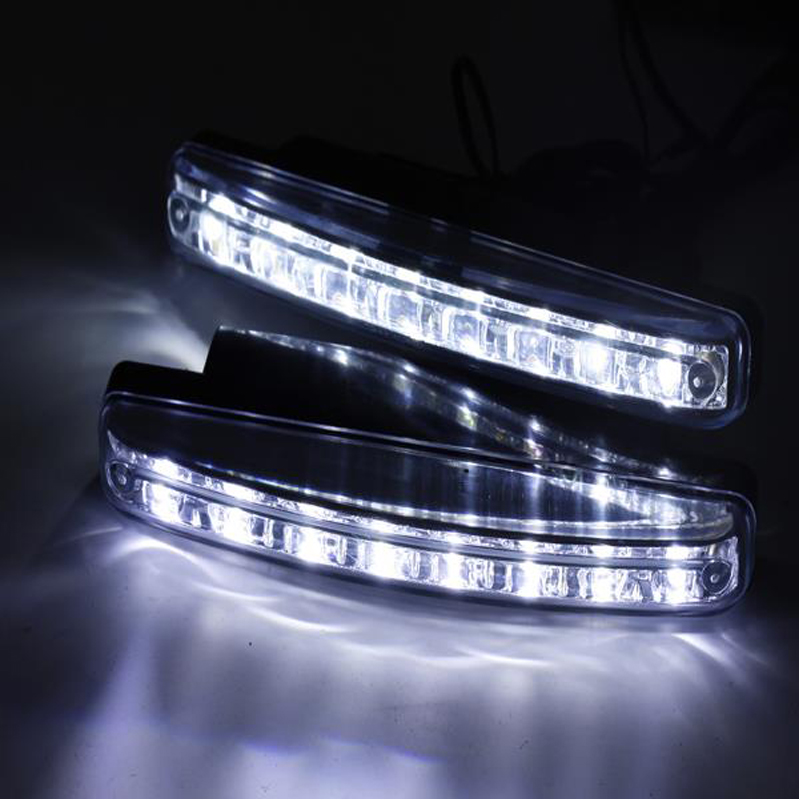 2PCS Car Styling Automobiles 8LED Daytime Running Light DRL The Fog Driving Daylight LED Lamps For Automatic Navigation Lights 2 pcs for vw tiguan 5 pcs of light 2010 2012 daytime running lights fog head lamp car styling white daylight waterproof