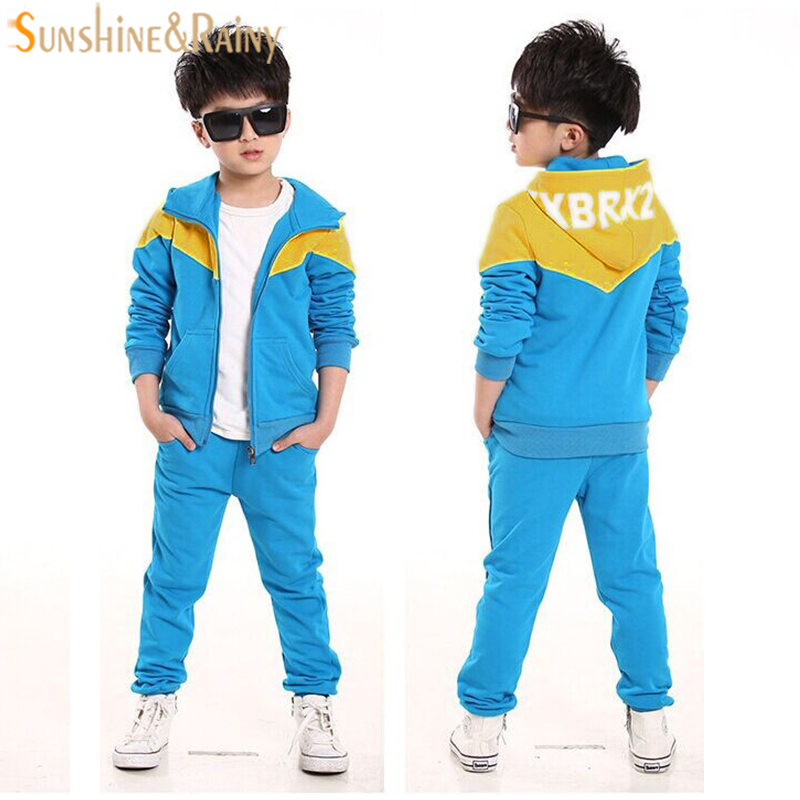 Kids Boys Sports Sets Spring Hooded Coats And Jackets Pants Toddler Tracksuit Set Fashion Children Clothing Sports Suit For Boy children clothing sets 2016 new autumn baby boys girls warm coats hoodied jackets pants set korean fashion kids tracksuit suit