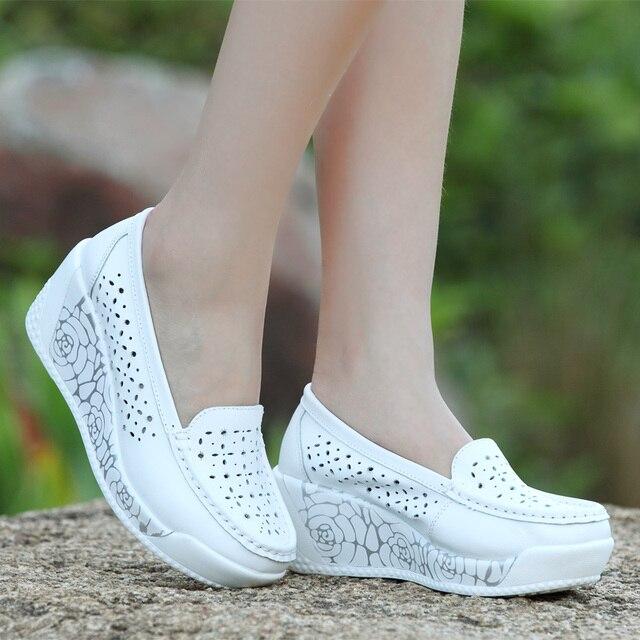 MUDIBEAR 2017 Women's  Shoes 3 Styles Female Shoe Swing Genuine Leather Wedges Platform Single Breathable Hot Women's Shoes Lady