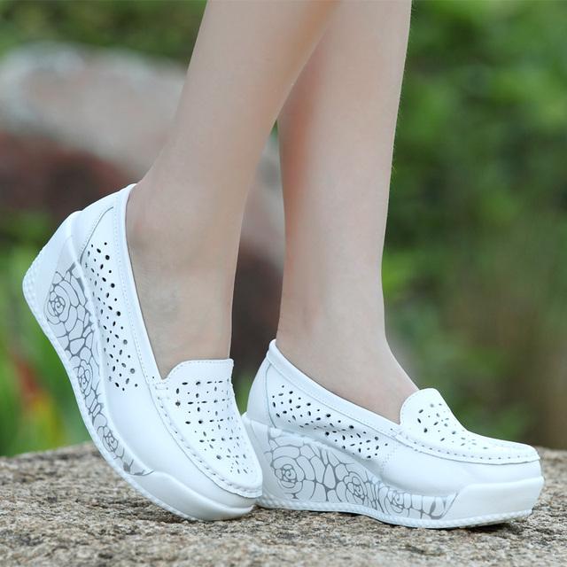 Mudibear 2017 zapatos de las mujeres 3 estilos de zapatos femeninos oscilación de cuero genuino cuñas de plataforma única transpirable zapatos de las mujeres calientes señora