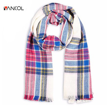 ZA Winter Brand Mens Unisex 2015 Tartan Scarf Plaid Scarf Women Blanket Oversize Wrap Shawl Cozy Checked Scarves
