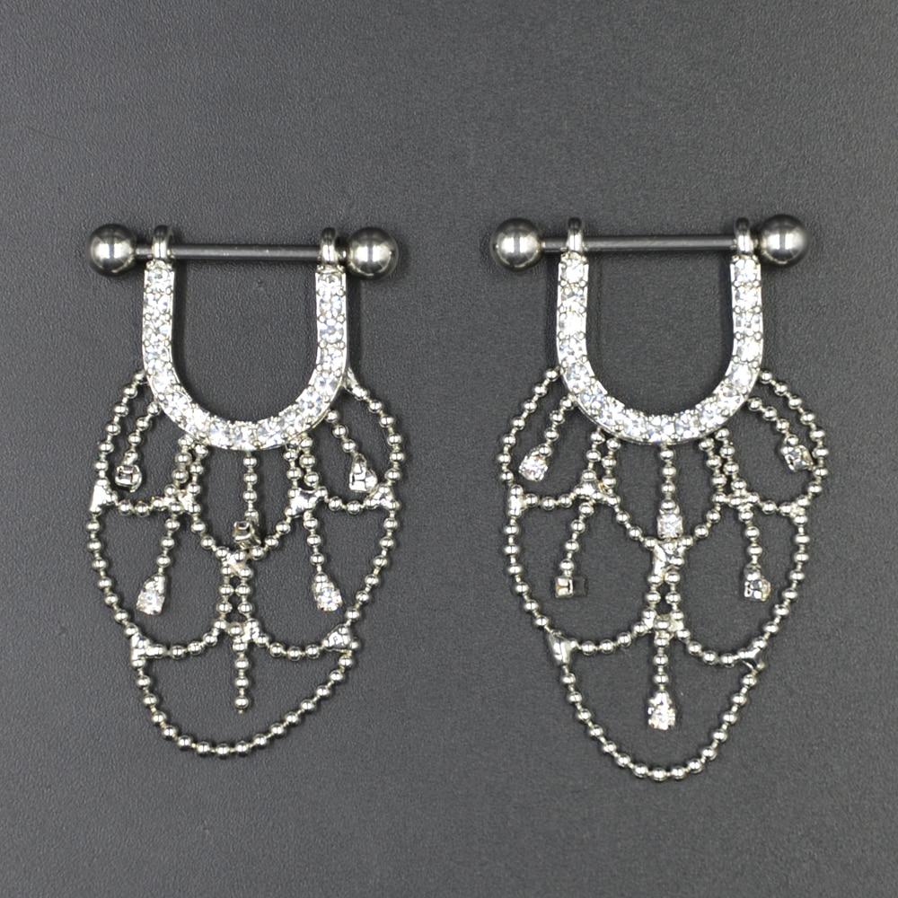 PAIR Bedah Baja CZ Kristal Chandelier Jatuhkan Nipple Cincin Barbell - Perhiasan fashion - Foto 3