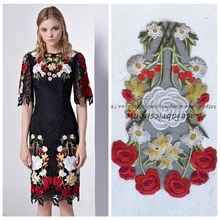 32*22cm 5pieces/lot high quality patch mixed color on black organza embroidered Front skirt