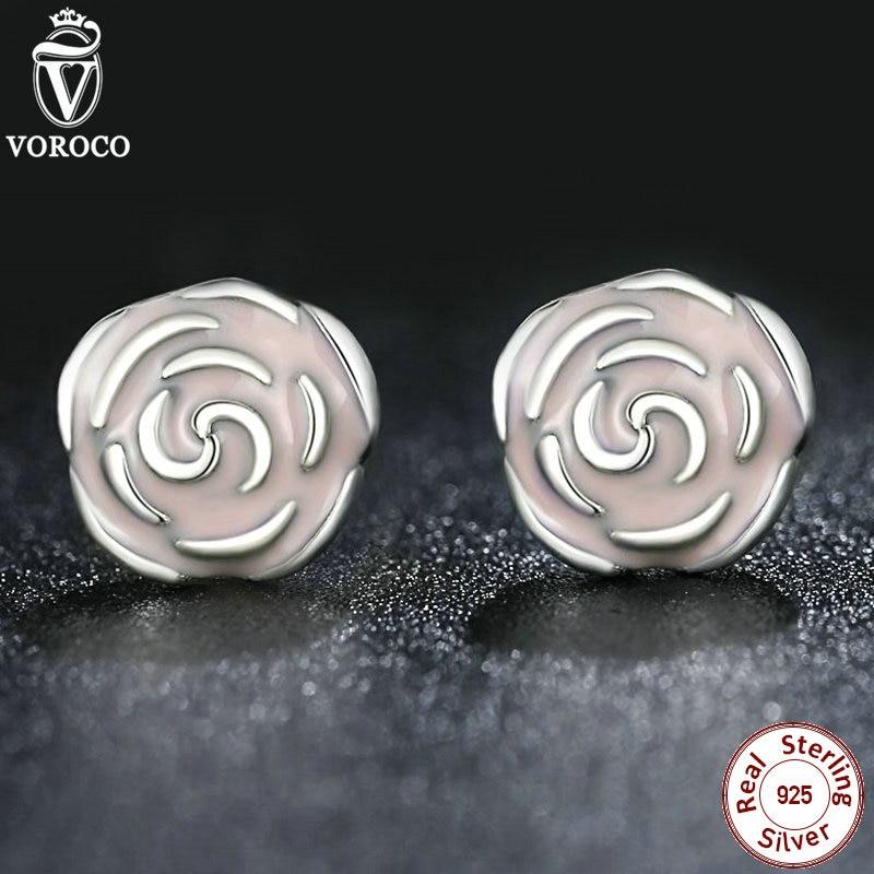 Original 925 Sterling Silver Rose Petal Garden Stud Earrings Pink Enamel Compatible with VRC Jewelry S401