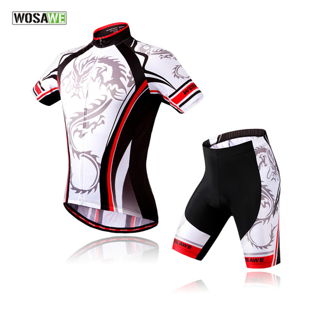 5b0dbfadc WOSAWE 2017 New Cycling Set Short Sleeve Bicycle Jersey + 4D Gel Pad Shorts  Breathabel Summer