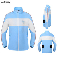 Aufdiazy Men Women Air Conditioning USB Cooling Fan Hiking Jacket UV Sun Protection Outdoor Fishing Summer Smart Clothes IM061