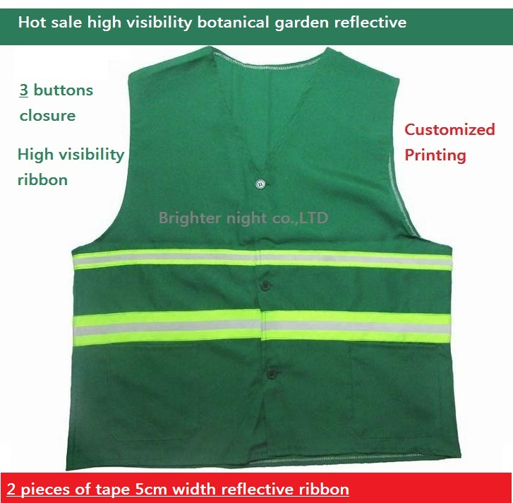 Green Reflective vest Botanical Garden Sanitation Reflective Safety Warning Vest Customized Printing