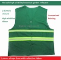 Green Reflective vest Botanical Garden Sanitation Reflective Safety Warning Vest Customized Printing