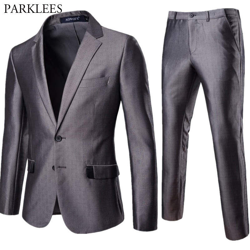 Gray 2 Piece Suit (Jacket+Pants) Men 2018 Brand New Slim Fit Single Breasted Mens Suits Formal Business Wedding Groom Suit 4XL