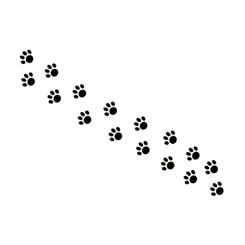 15.5cm*2.5cm Beautiful Animal Cat Paw Prints Vinyl Decal Car Sticker Black/Silver S6-3814