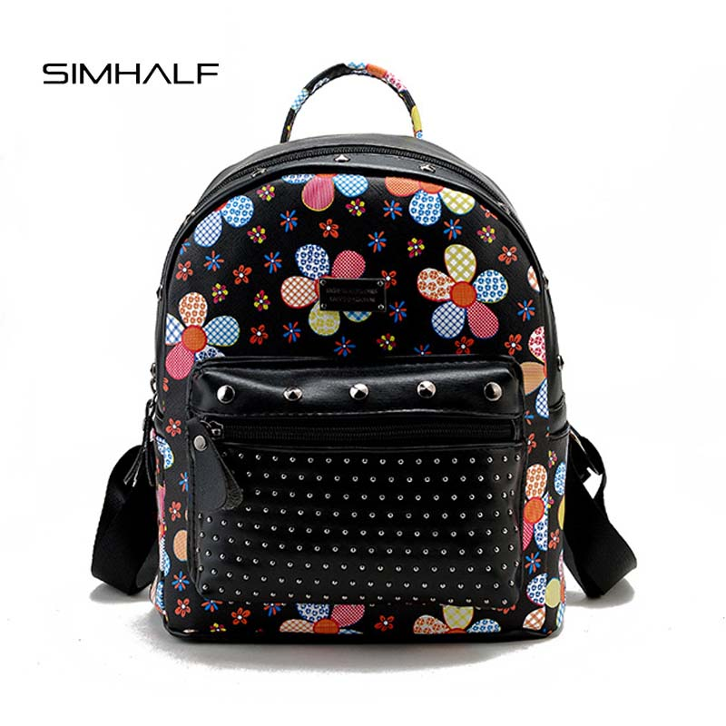 SIMHALF Preppy Style Women Printing Backpack Fashion Rivet Female School Bags PU Leather Backpacks for Teenagers