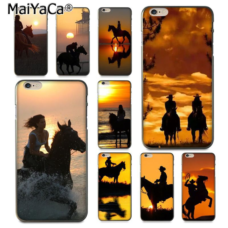 MaiYaCa Riding horse in the sunset Beautiful Phone Accessories Case for iPhone 8 7 6 6S Plus X 10 5 5S SE 5C Coque Shell