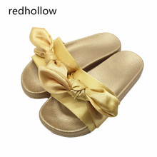 Fashion Silk Bow Slides Women Summer Beach Shoes Woman Slippers Flat Heels Flip Flops Ladies Bohemia Sandals Flat with Slippers недорго, оригинальная цена