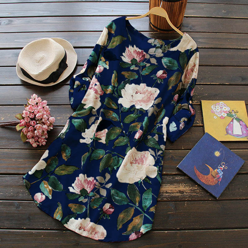 Bohemian Floral Women Dress Loose Beach Long Maxi Dresses Large Size Full Sleeve Female Summer Dress Comfy Cotton and Linen