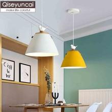 Qiseyuncai Nordic log bird chandelier creative simple bar table lamp color macaron single head restaurant chandelier недорого