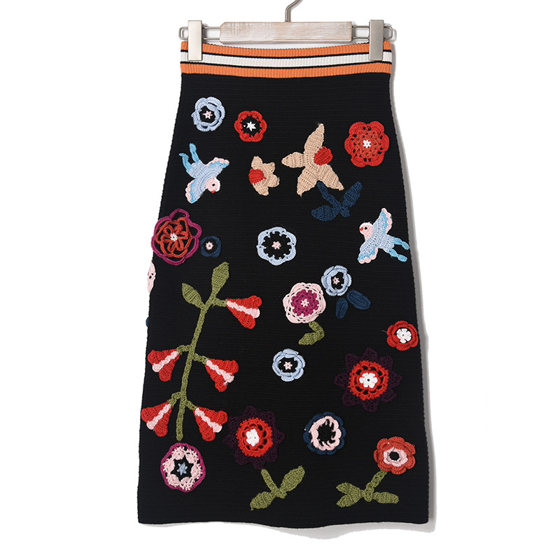 high quality american bird floral patterns embroidery knitted black pencil knee length ladies skirt women 2016 new autumn winter women s embroidery bomber jacket 2017 autumn high quality floral printed jacquard black