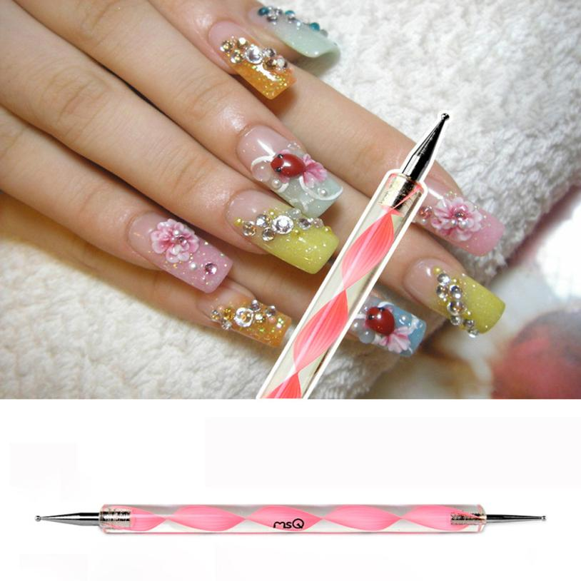 1PC Spiral Double headed Pink Nail Fancy Stitch Dotted Pen Hook ...