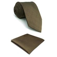D27 Твердые коричневые мужские галстуки Шелковые удлиненные мужские галстуки Карманный квадратный