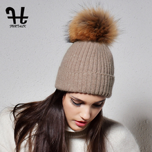 FURTALK winter rabbit fur pom pom hats women warm knit skullies hat beanie for girls