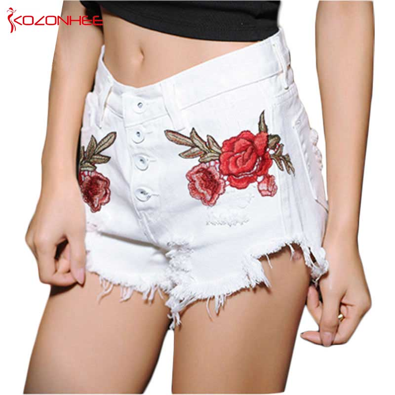 Summer White Rose Ripped Embroidery Denim Shorts With High Waist Torn  Fashion Sexy Women Denim Shorts With Holes
