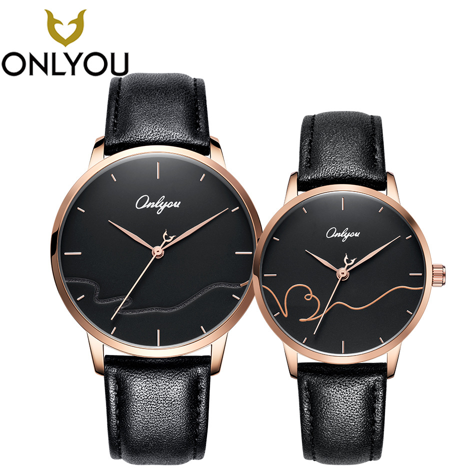 ONLYOU Fashion Lovers Watch Creative Men Luxury Quartz Watches Special Genuine Leather for Ladies Black Couple Wristwatch montre onlyou luxury brand fashion watch women men business quartz watch stainless steel lovers wristwatches ladies dress watch 6903