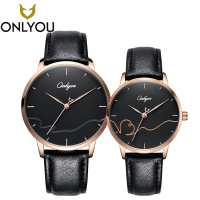 ONLYOU Fashion Lovers Watch Creative Men Luxury Quartz Watches Special Genuine Leather for Ladies Black Couple Wristwatch montre