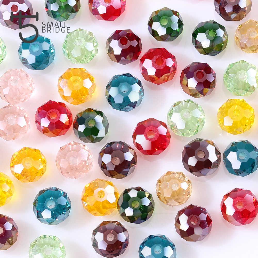 4 6 8mm Bahasa Swedia Longgar Rondelle Kristal Beads Untuk Membuat Perhiasan Diy Menjahit AB Warna Spacer Ragam Manik-manik Kaca grosir Z179