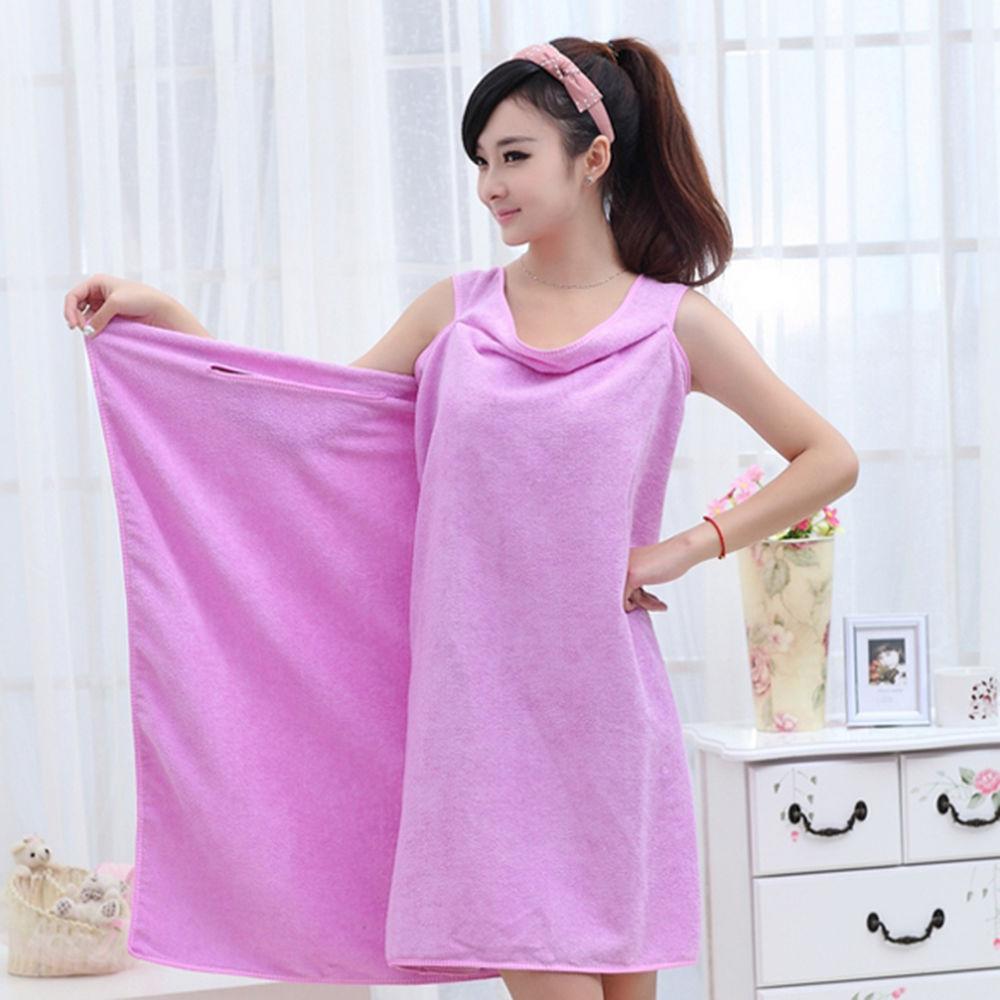 Women Absorbent Microfiber Bath Wearable Wrap Spa Towel Bathrobe Pajamas Trendy