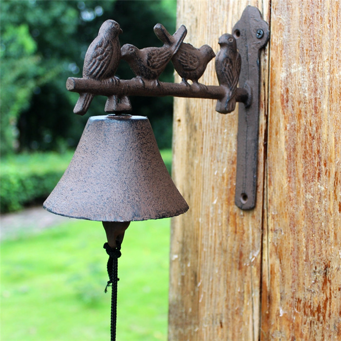 Metal Rustic Arched Birds Hanging Wall Door Bell Cast Iron Hand Rustic Brown