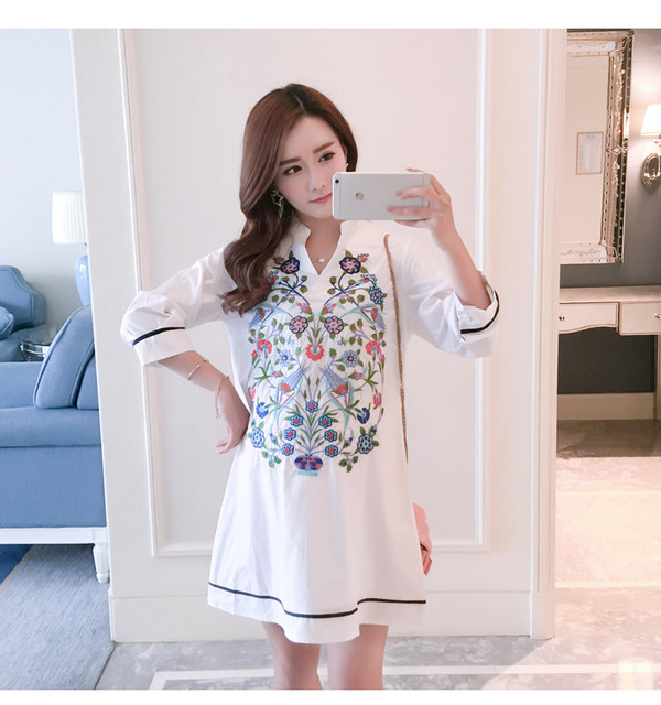 Maternity Blouse Shirt Clothes Pregnancy Wear Tops Tees Clothing White Floral Embroidery Clothes For Pregnant Women 2
